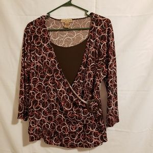 Notations  blouse brown with circles Size XL